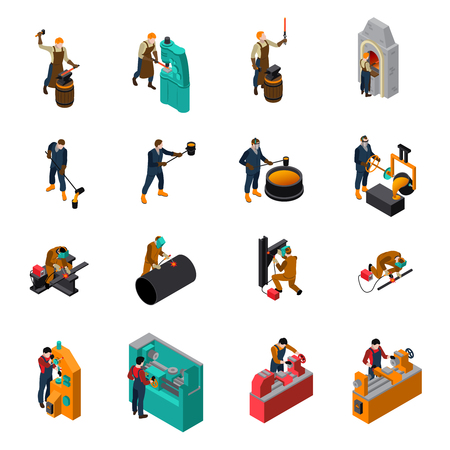 Metalworking process equipment tools and machinery isometric icons collection with blacksmith forging wrought iron isolated illustration