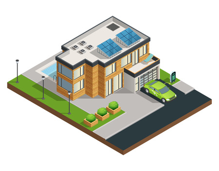 residential zone: Big modern green eco house with solar panels on roof beautiful tidy yard garage and swimming pool isometric illustration