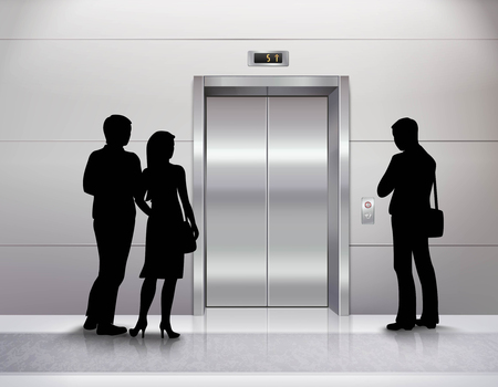 Three male and female people silhouettes standing in front of modern elevator and waiting for it realistic illustration