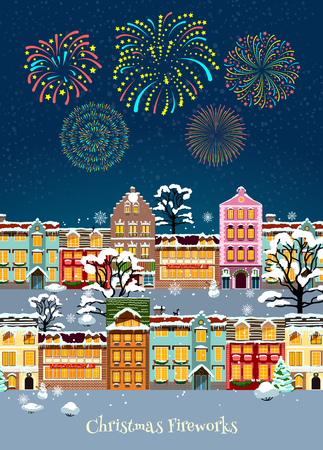 snowbound: Colorful Christmas celebration template with glowing sparkling fireworks and snowbound cityscape illustration