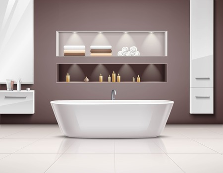 luxurious: Luxurious bathroom interior realstic design with white bath and accessories illustration Illustration