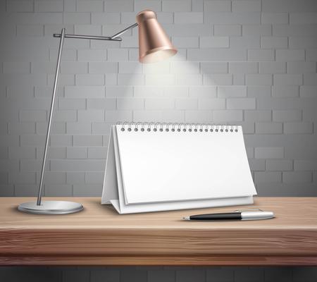 desk calendar: Blank spiral paper desk calendar pen and lamp on wooden table realistic concept illustration Illustration