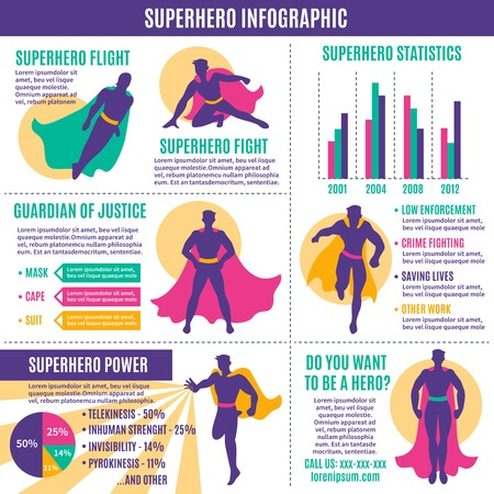 defender: hero infographics layout with avatars in costumes text information graphs statistic and diagrams flat illustration
