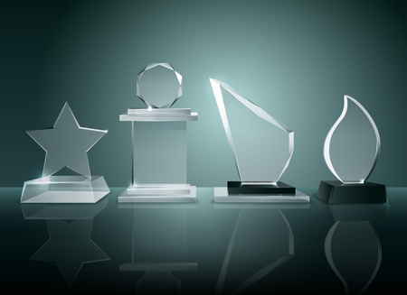 Sport competitions glass trophies prizes collection on transparent reflective surface realistic image with dark shadowy background illustration