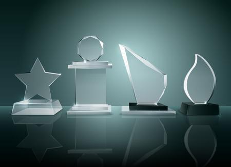 Sportcompetities glazen trofeeën prijzen collectie op transparant reflecterend oppervlak realistisch beeld met donkere schaduwrijke achtergrondillustratie