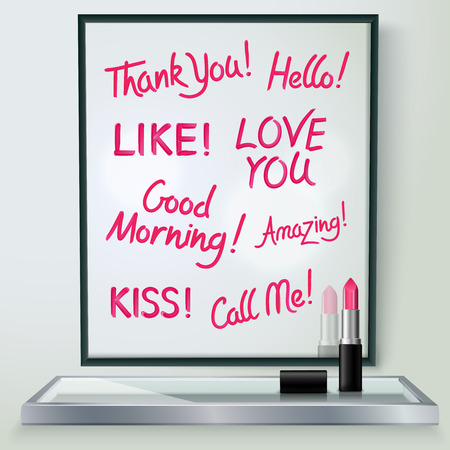 affection: Pink red glossy lipstick words of love and affection in black frame on shelf realistic  image illustration