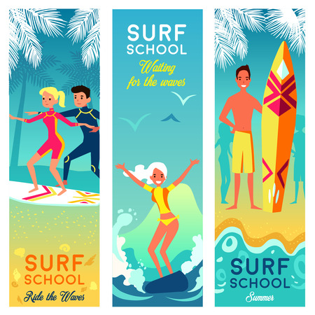 school boys: Surf school vertical banners with brave girls and boys surfing in summer vacation flat illustration