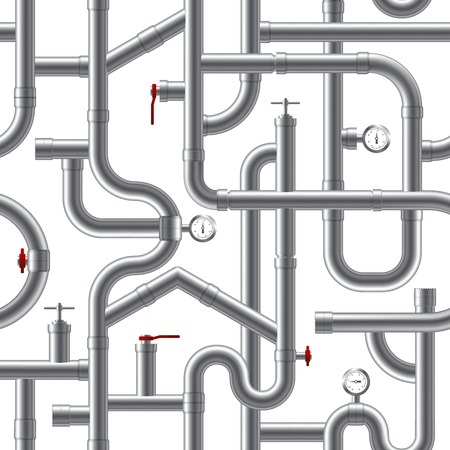 plastic pipe: Plastic grey pipe system realistic seamless pattern  illustration