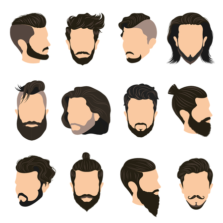 men hairstyle: Men hairstyle icons set with beard and moustache flat isolated  illustration