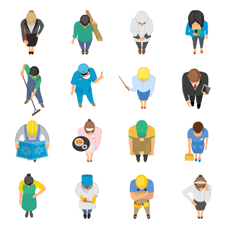 janitor: Professions top view isolated colored icons set of waitress doctor teacher nurse janitor plumber isolated  illustration Illustration
