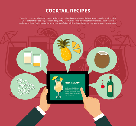 pina colada: Cocktail recipe template of pina colada with colorful icons of ingredients in flat style illustration
