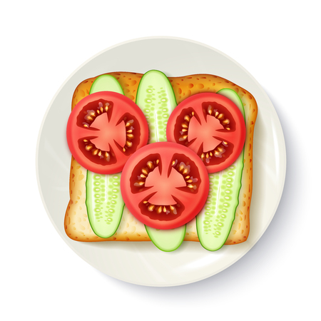 appetizing: Healthy breakfast idea of wholegrain bread with fresh tomato and cucumber slices appetizing top view illustration