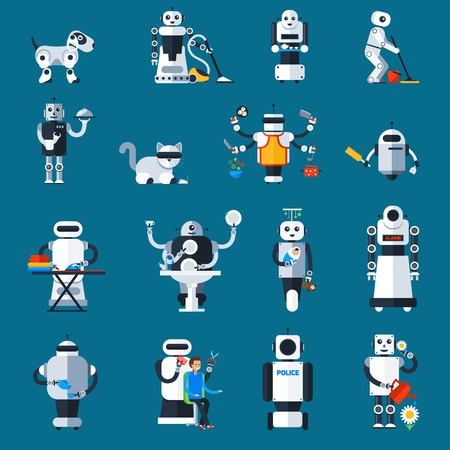 replacing: Home robots collection helping and replacing people in different activities in flat style isolated illustration Illustration