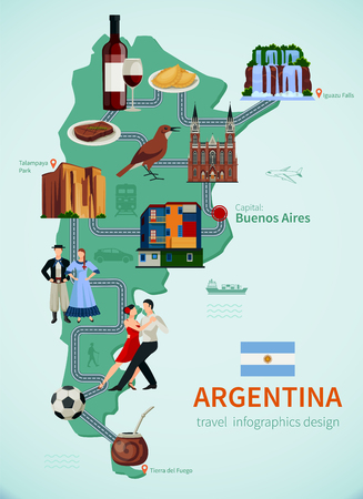Argentina tourists attraction symbols flat map for travelers with national talampaya park waterfalls and tango illustration