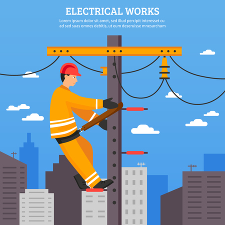Electrical works flat illustration of electrician working with high voltage equipment on power line support