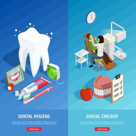 Odontología banners verticales isométricas con los procedimientos médicos de la protección de los dientes y la inspección de la ilustración aislado