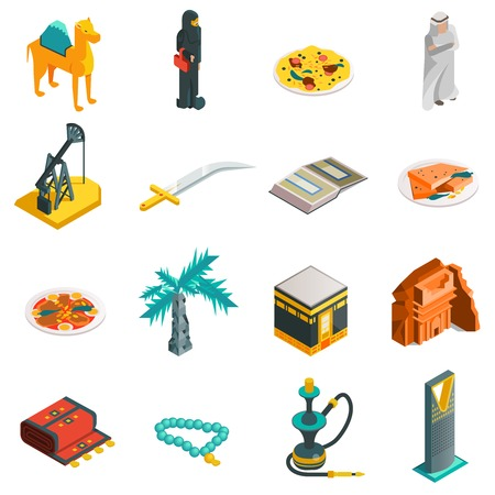 touristic: Saudi Arabia isometric touristic icons set with main arabian sights and elements in flat style  illustration
