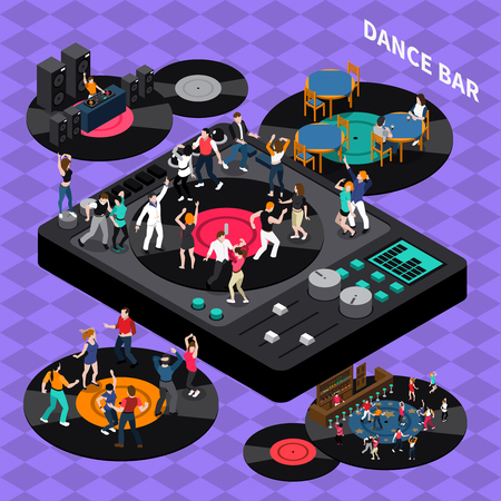 disk jockey: DJ club bar retro style vinyl discs dance floor isometric composition poster with rhythmic moving people illustration