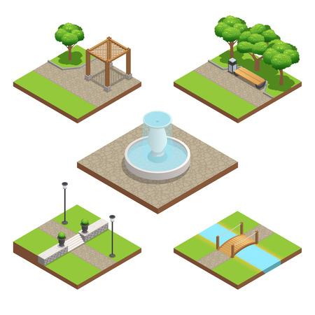 Composition d'aménagement paysager isométrique fixé avec des plantes et du bois et des éléments de décoration en pierre pour le parc ou le jardin en été isolé sur fond blanc illustration