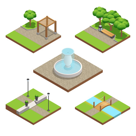 rail yard: Isometric landscaping composition set with plants and wood and stone decoration elements for park or garden in summer isolated on white background illustration