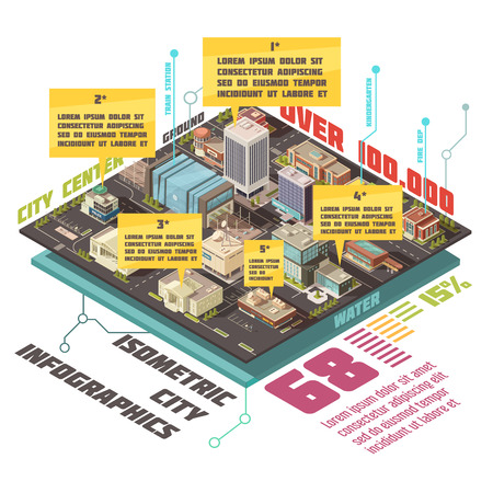 Government buildings isometric infographic set with state establishments symbols  illustration