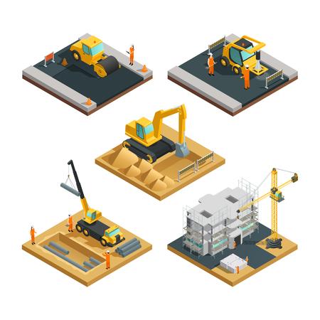 Isometrischen Gebäude und Straßenbau Zusammensetzungen eingestellt mit Transporteinrichtungen und Arbeiter isoliert auf weißem Hintergrund Illustration Vektorgrafik