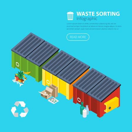 recolector de basura: Clasificación de desechos cartel isométrica de tres contenedores de basura especiales para el cartón de alimentos y la ilustración de vidrio