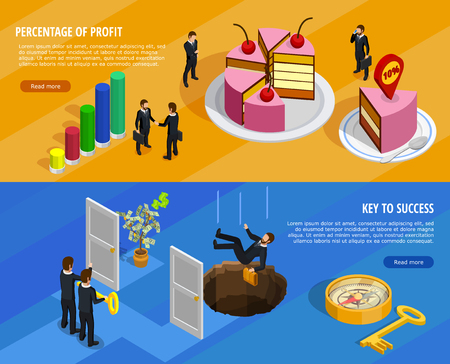 achieving: Business development isometric horizontal banners with goal setting and analysis of result and means of achieving illustration
