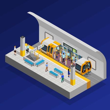 Concepto isométrico de la estación de metro con el tren y la gente en la ilustración de fondo azul Ilustración de vector