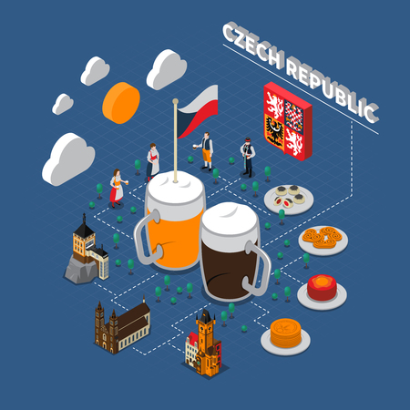 Check republic tourists attraction isometric symbols with typical national beer snacks and clothing flowchart elements illustration Illustration