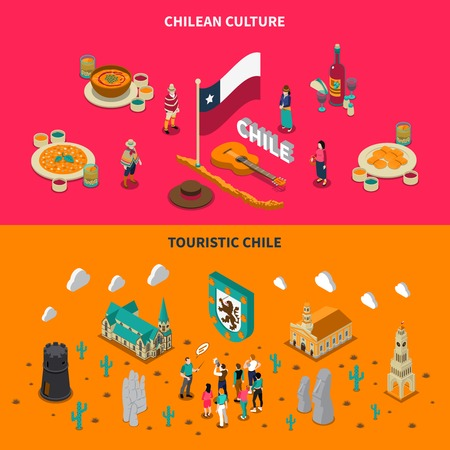 places of interest: Chile top touristic attractions 2 isometric horizontal banners with national dishes and places of interest isolated illustration