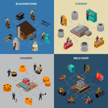 metalworking: Metalworking 4 isometric icons square composition with blacksmith shop foundry and turner facilities service isolated illustration