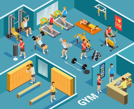 Gym isometrische sjabloon met mensen apparatuur en verschillende soorten fysieke oefeningen illustratie