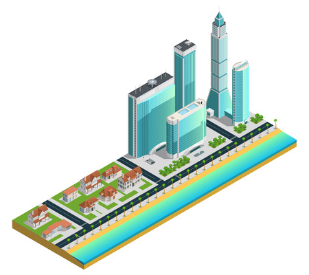 Isometric composition with modern skyscrapers many-storeyed and suburban houses on sea coast illustration Illustration