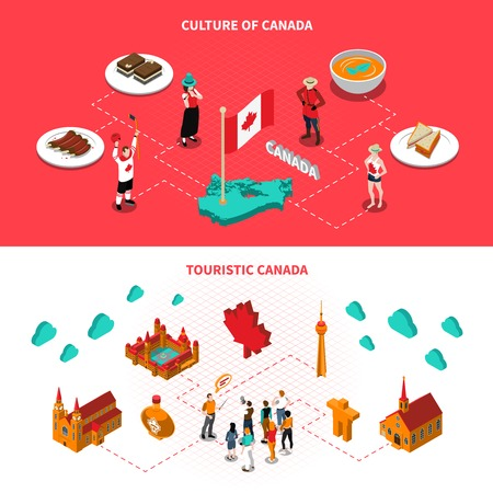 Canadian historical landmarks and attractions for tourists 2 isometric horizontal banners with national cuisine dishes isolated illustration