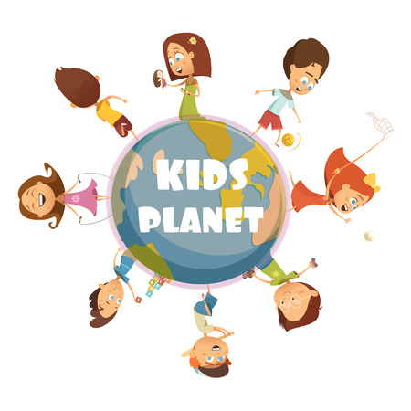 sisters: Playing kids cartoon concept with kids planet symbols illustration Illustration