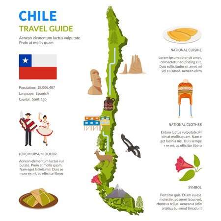 Chile infographics flat layout with border map and travel guide page text elements and symbols illustration