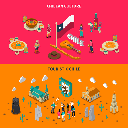 on top of the world: Chile top touristic attractions 2 isometric horizontal banners with national dishes and places of interest isolated illustration