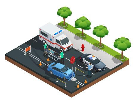 Isometric road accident composition with car bumped into traffic sign and injured driver on emergency stretcher illustration Illustration