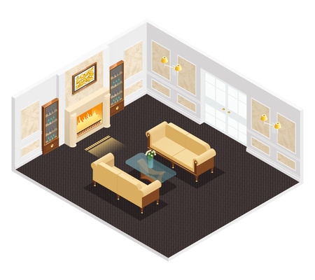 luxury interior: Isometric luxury interior for living room with fireplace sofas table and bookcases illustration Illustration