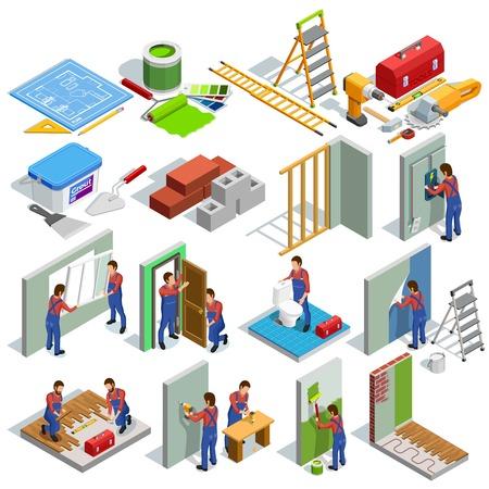Inicio de reparación iconos isométrica de un conjunto de diferentes trabajadores procedimientos de renovación y herramientas aislados ilustración