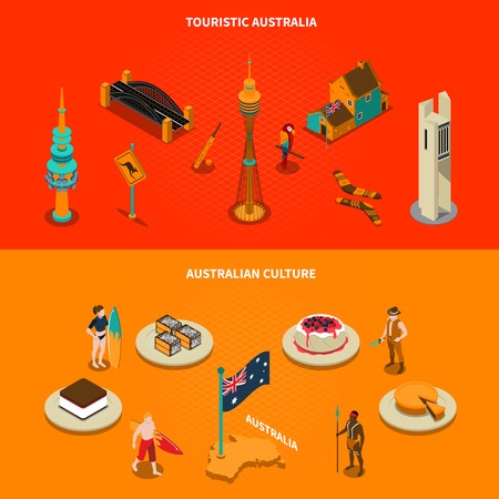 australian culture: Australian culture landmarks and famous sights for tourists 2 isometric horizontal banners with dessert dishes isolated illustration