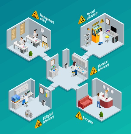 biological: Laboratory concept with physical chemical and biological laboratories isometric illustration Illustration
