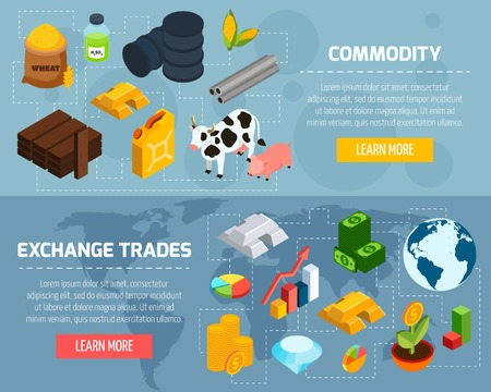 raw material: Commodity horizontal banners set with exchange trade symbols isometric isolated vector illustration