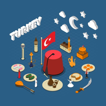Turkish cultural isometric symbols composition poster for travelers with traditional sweets landmarks and red tassel hat illustration
