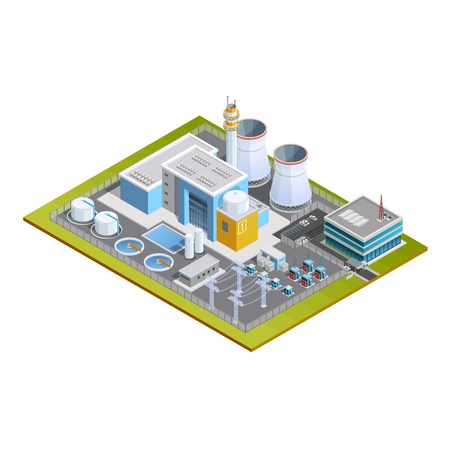 industria quimica: Imagen isométrica de la central nuclear de una cuadra con tubos de transformadores de la unidad de conversión de centro de producción y la ilustración de la oficina