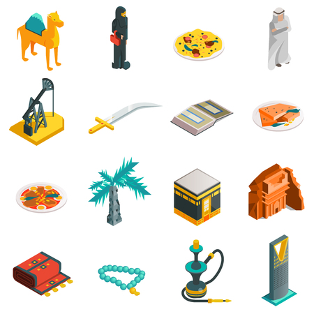 touristic: Saudi Arabia isometric touristic icons set with main arabian sights and elements in flat style illustration Illustration