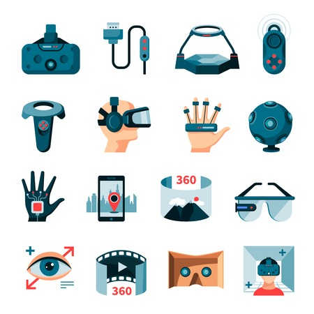 Virtual 360 degree augmented reality symbols gadgets and accessories flat icons set with 3d glasses isolated vector illustration Illustration