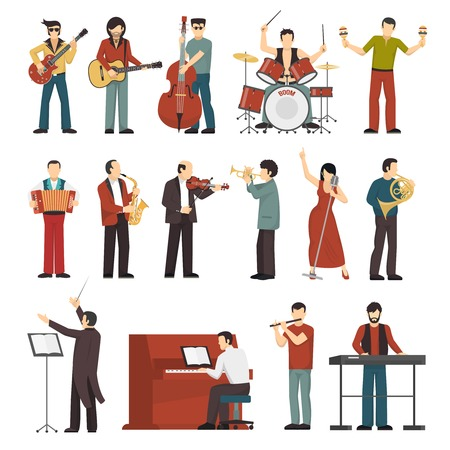 contrabass: Colored musicians figures with different musical Instruments icons set of conductor guitarist singer drummer trumpet contrabass player flat isolated vector illustration