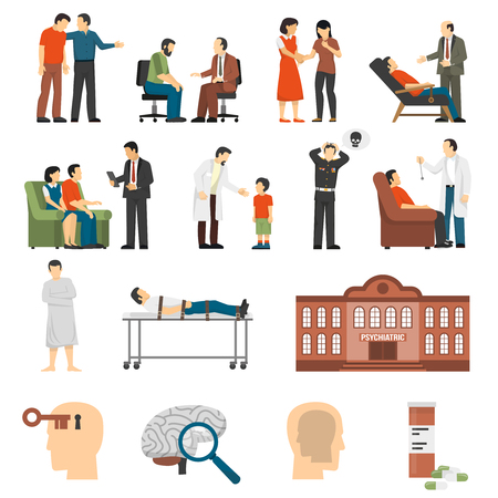 Flat color icons set depicting psychologist counselings for people having family problems and mental disorders isolated vector illustration